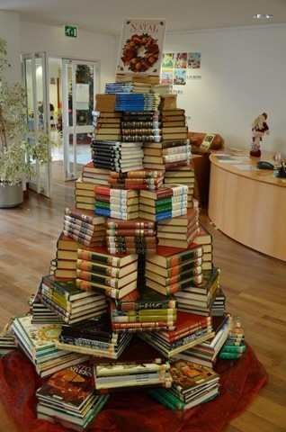 BITW Holiday Art Tall Tree Made of Books