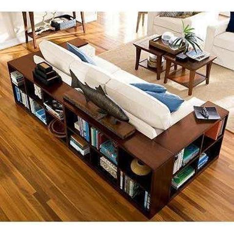 BITW Bookshelves surround couch