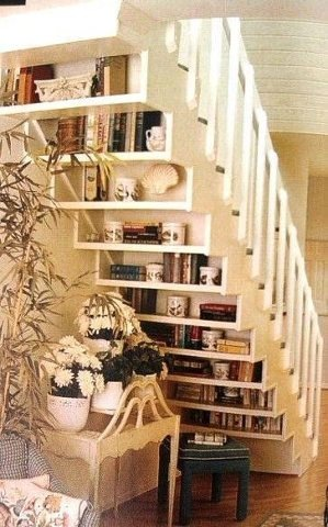 BITW Bookshelves under the stairs