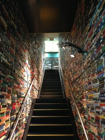 BITW Books Walls along staircase