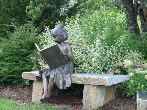 BITW Statue of Little Girl Reading Big Book on Bench