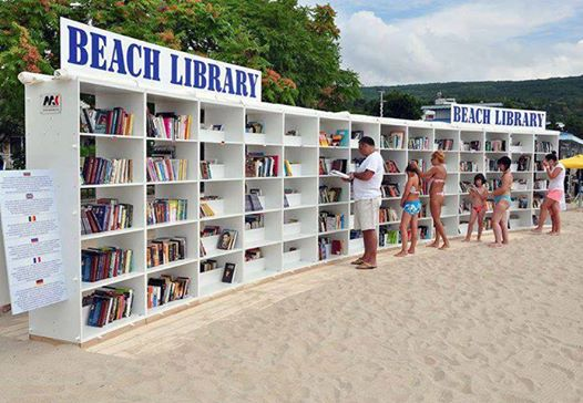 And what could be more necessary than a library right on the beach?