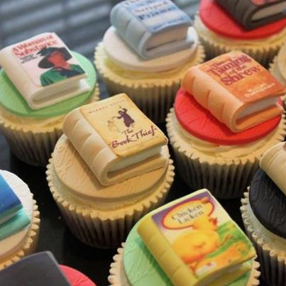 Or perhaps some bookish cupcakes? Almost too pretty to eat.