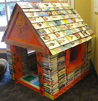 A little house made of books, what a delightful place to read.