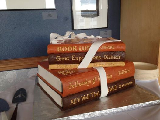 The Wedding Cake of Paul & Kelly who fell in love while working together at Eagle Harbor Book Co. & tied the knot at Village Books this week! The best happy ending ever.