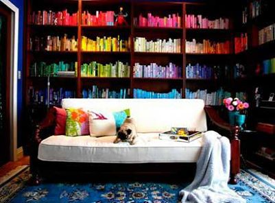 This magnificent rainbow of books can please the eye and the mind.